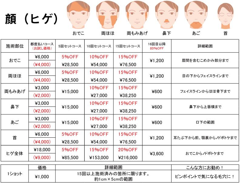 メンズ脱毛サロンGOGO-料金表-顔-2